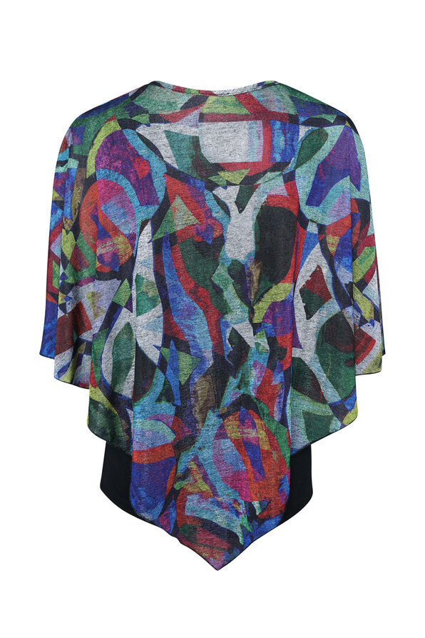 Geometric Print Poncho, Red, original image number 1