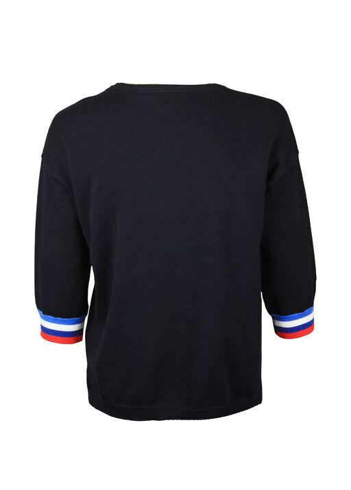 Cotton Crew Neck Sweater 3/4 Sleeves, Ink, original