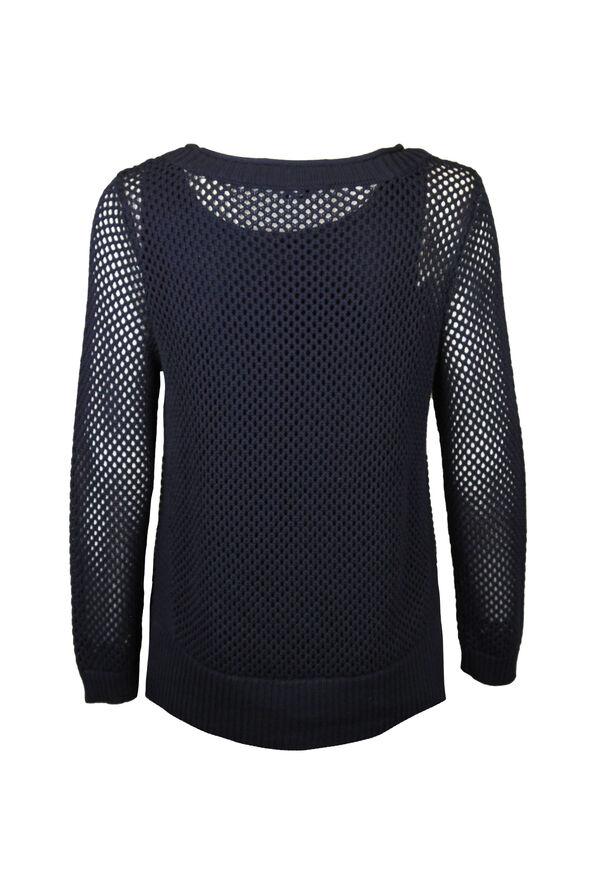 Crew Neck Open Stitch Sweater, Ink, original image number 1