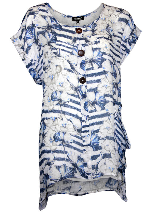 Stripe and Floral Print Cap Sleeve Shirt , Blue, original