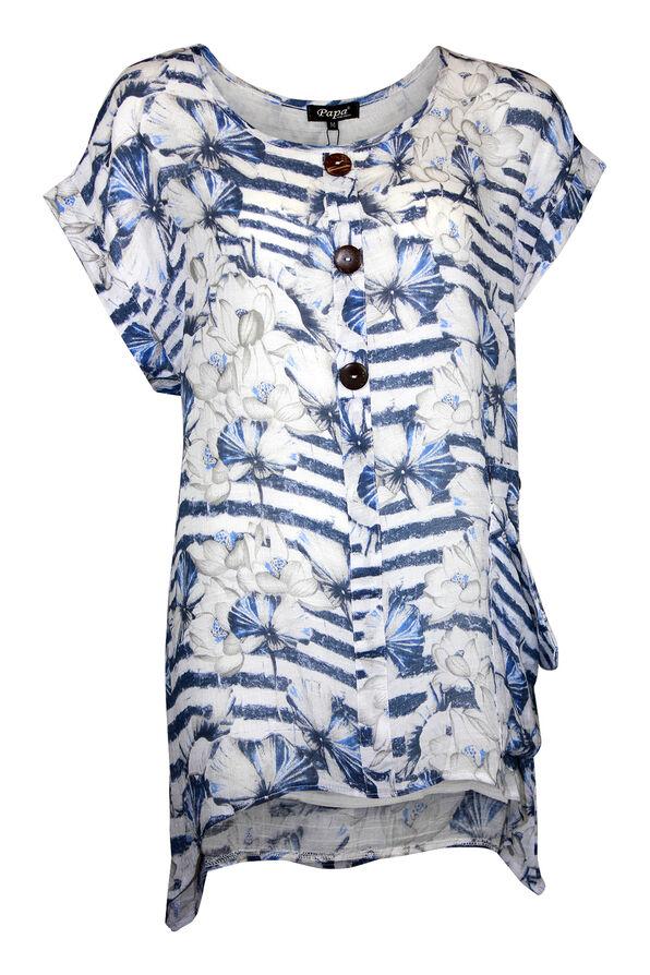 Stripe and Floral Print Cap Sleeve Shirt , Blue, original image number 0