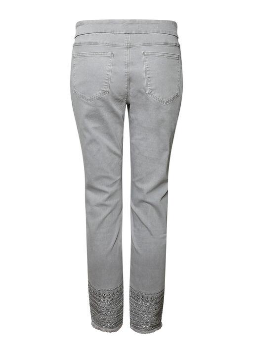 Embellished Hem Pull on Jean, Grey, original