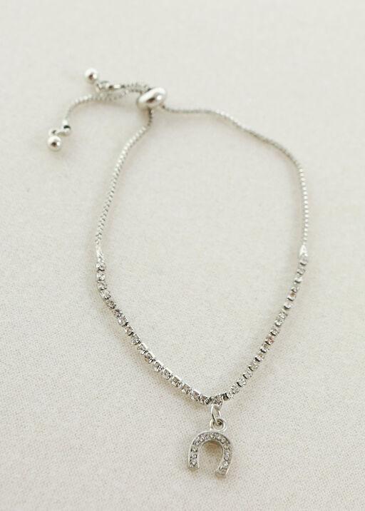 Crystal Horseshoe Bracelet, Silver, original