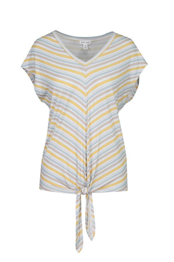 Striped V-Neck T-Shirt with Knot, Beige, original image number 0