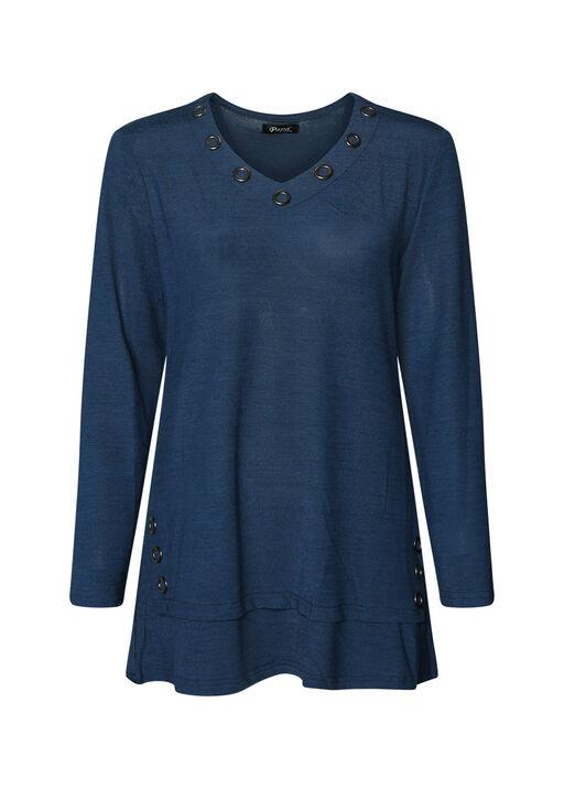 V Neck Melange Knit Tunic Top with Grommets, , original