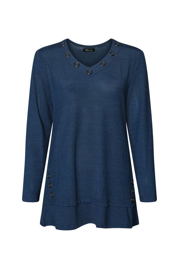V Neck Melange Knit Tunic Top with Grommets, , original image number 1