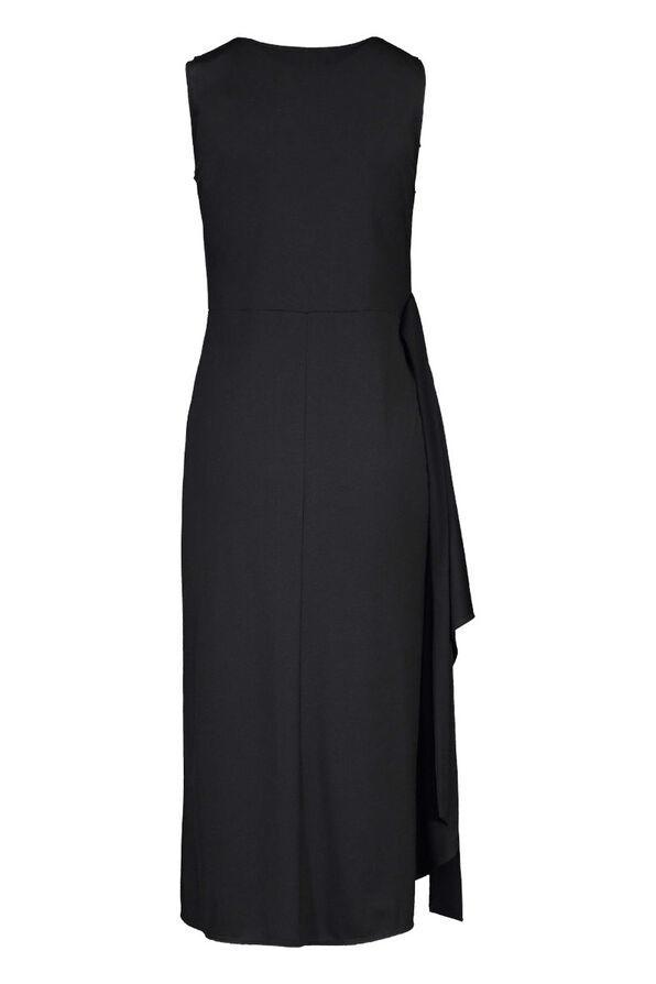 Sleeveless Wrap Black Dress Hi-Lo Hem, Black, original image number 2