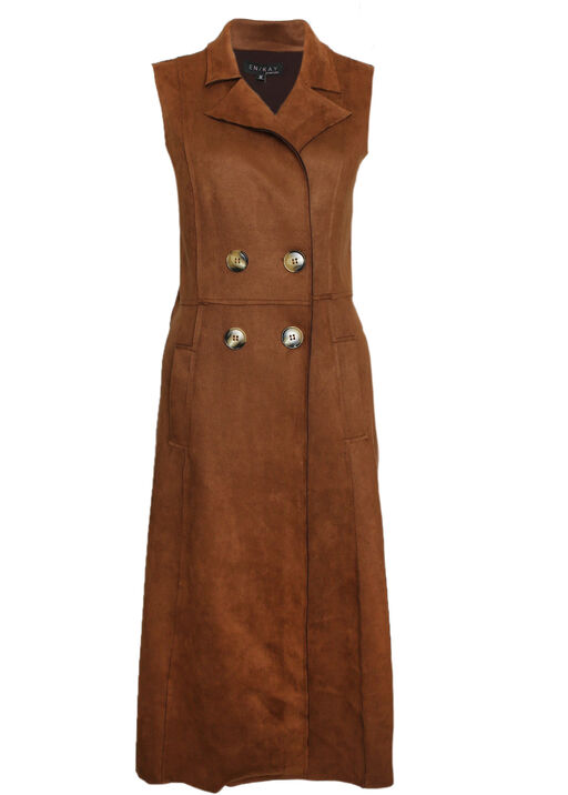 Faux Suede Sleeveless Duster, , original