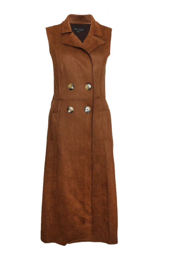 Faux Suede Sleeveless Duster, , original image number 0