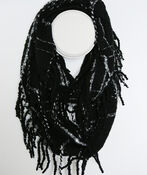 Plaid Boucle Infinity Scarf with Fringe, , original image number 1