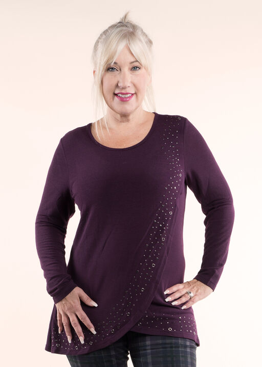 Long Sleeved Knit Tunic Top, Purple, original
