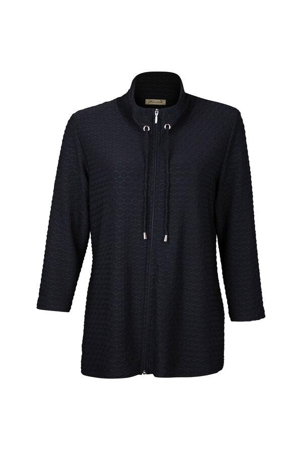 Zip Cardigan Chevron Embroidery 3/4 Sleeve, , original image number 0