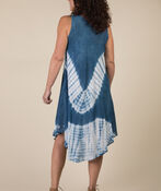 Sleeveless Embroidered Neckline Tie Dye Dress, Denim, original image number 3