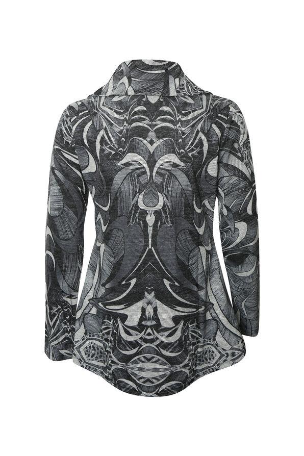 Cowl Neck Long Sleeve Top, Charcoal, original image number 1