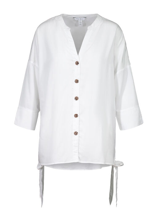 Button Front Blouse with Side Ties and 3/4 Sleeves, White, original