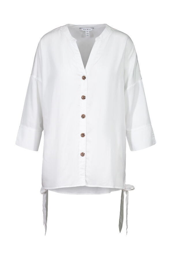 Button Front Blouse with Side Ties and 3/4 Sleeves, White, original image number 2