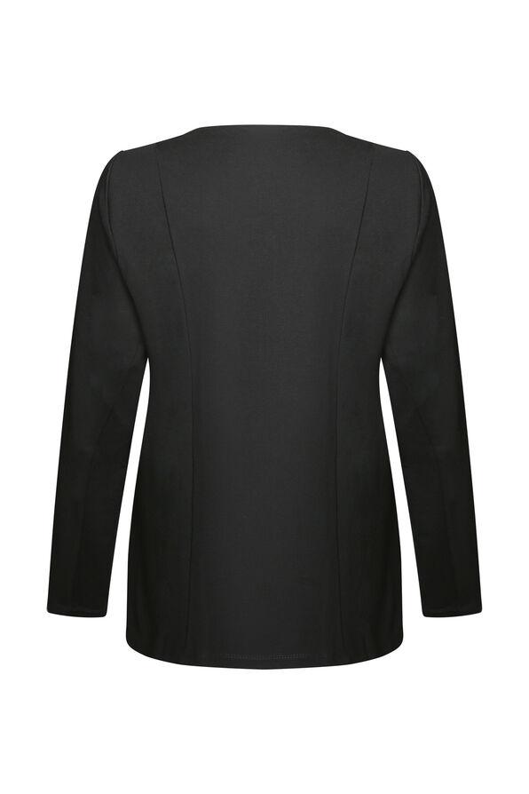 Diamond Pattern Faux Leather Jacket, Black, original image number 1