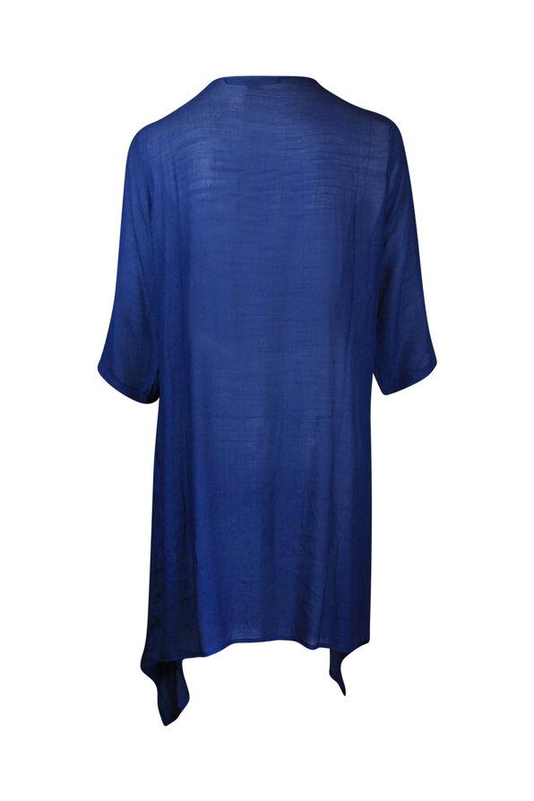 3/4 Sleeve Kimono Style Cardigan, Navy, original image number 1