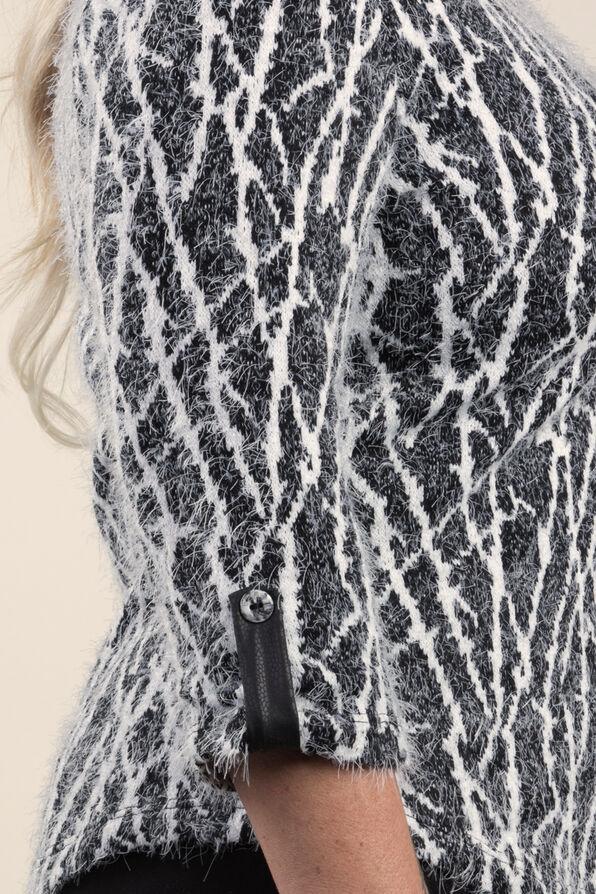 Cozy Print Sweater Knit Top, Black, original image number 2