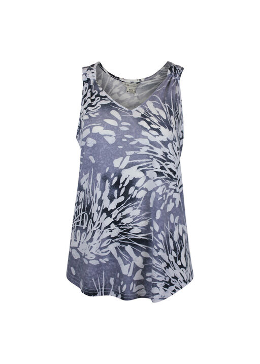 V-Neck Sleeveless Top with Gathered Shoulders, , original