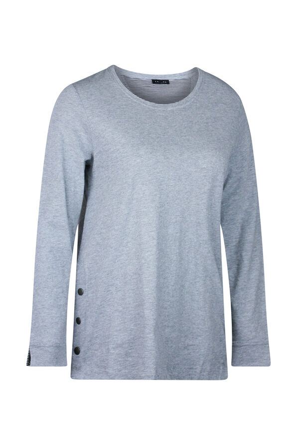 Cotton Crew Neck with Side Snaps, , original image number 4