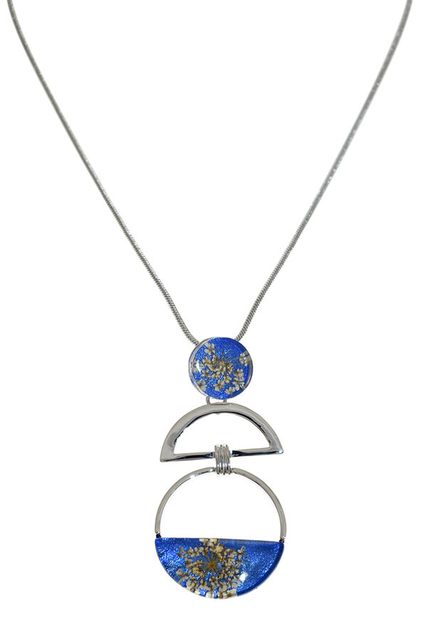 Geniune Flowers Necklace , Blue, original image number 0