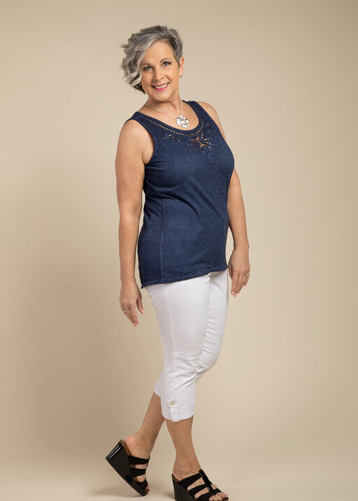 Embroidered Style Sleeveless, Navy, original