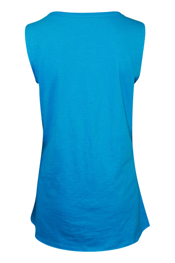 Cotton Faux Crossover Sleeveless Top, Turquoise, original image number 1