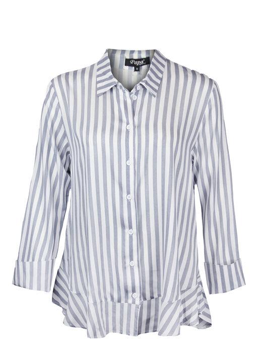 Striped Blouse with Ruffle Hi-Lo Hem, , original