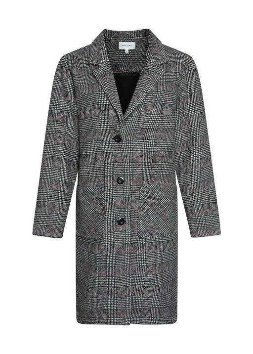 Plaid Wool Knee Length Pea Coat, , original