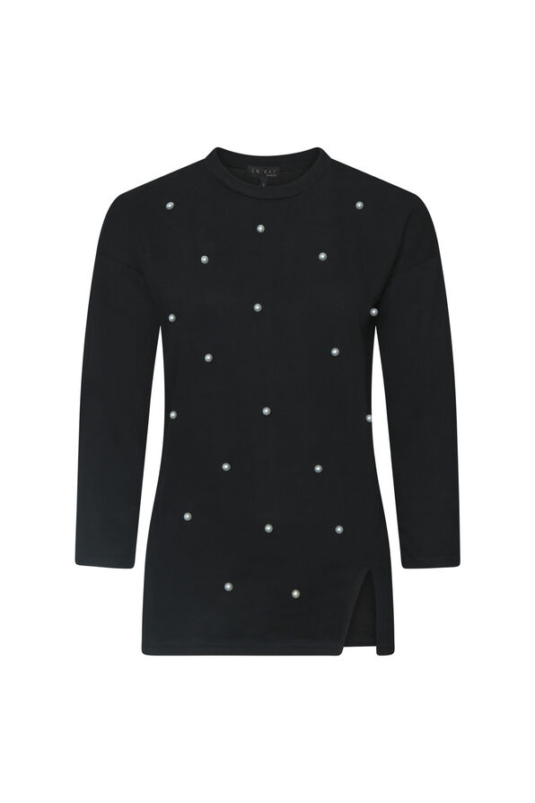 Crew Neck Sweater with Pearls , , original image number 0