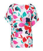 Flutter Sleeve Floral Print Top, Multi, original image number 1