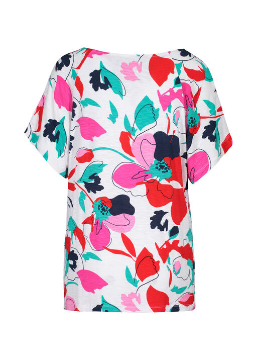 Flutter Sleeve Floral Print Top, Multi, original
