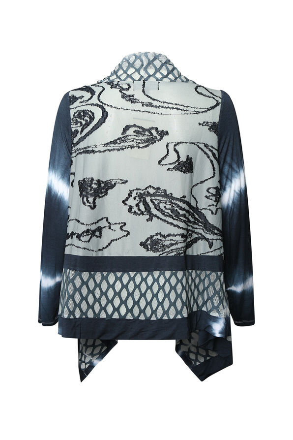 Elements Tie Dye Cardigan, Charcoal, original image number 1