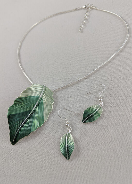 Lush Feather Necklace and Earring Set, , original