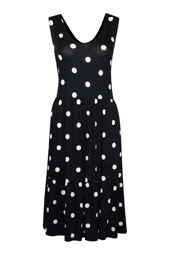 Sleeveless Polka Dot Print Dress , Navy, original image number 0