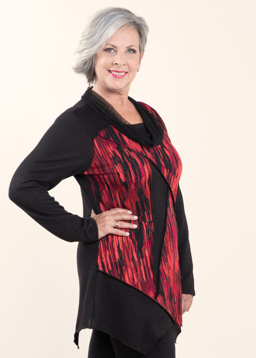 Cowl Neck Novelty Tunic , Red, original