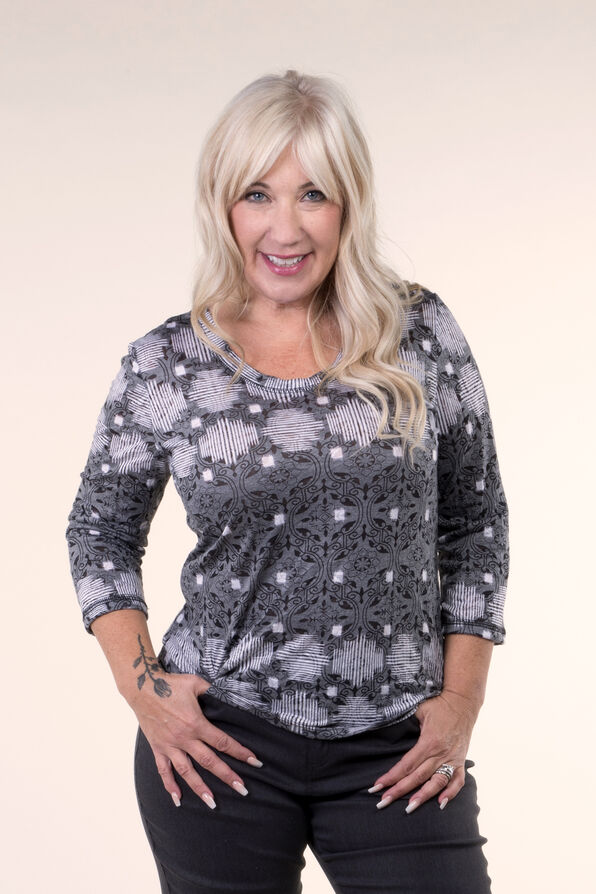 Burnout Crinkle Print Top, Grey, original image number 2