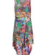 Printed Sleeveless Dress with Asymmetrical Hem, Multi, original image number 0