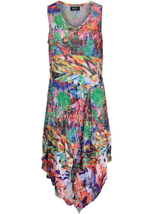 Printed Sleeveless Dress with Asymmetrical Hem , Multi, original
