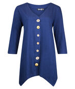 Wooden Button Front 3/4 Sleeve Top, , original image number 1