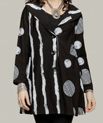 Printed Jacket with 3 Button Front, Black, original image number 2