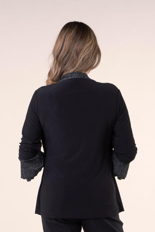 3/4 Sleeve Fooler Top, Black, original image number 2