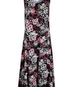 Sleeveless Puff Print Swing Dress, Black, original image number 0