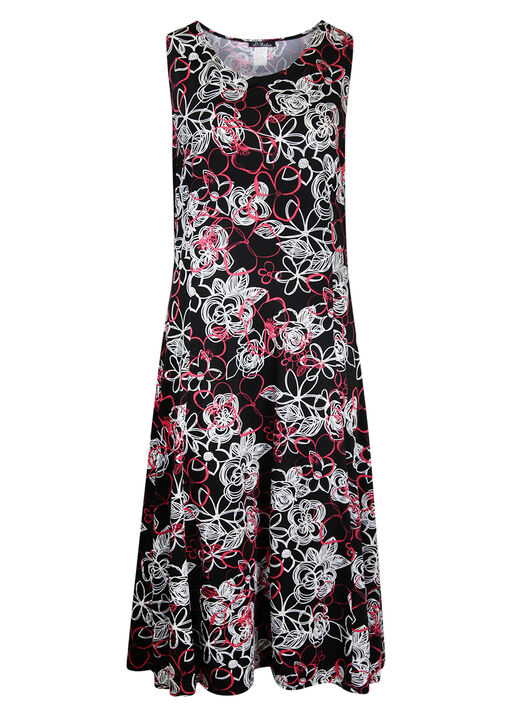 Sleeveless Puff Print Swing Dress, Black, original