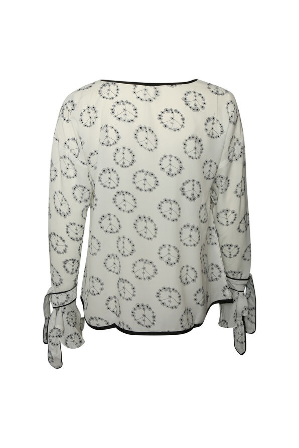 Peace and Floral Print Top with Bell Sleeves, White, original image number 1
