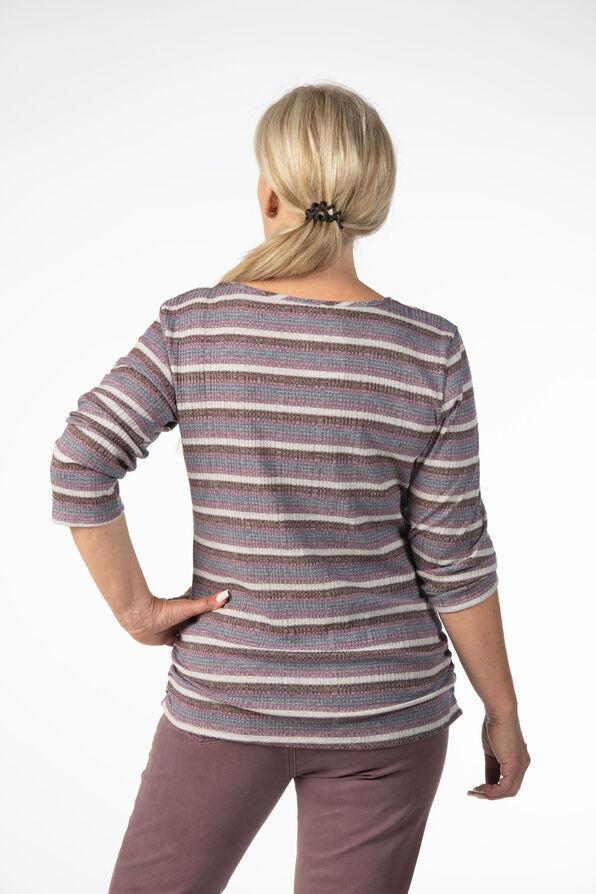 Mauve Stripes V-Neck, Purple, original image number 2