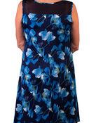 Sleeveless Floral Print Dress with Mesh Yolk, Blue, original image number 1