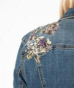 Floral Embroidered Denim Jacket, Denim, original image number 3