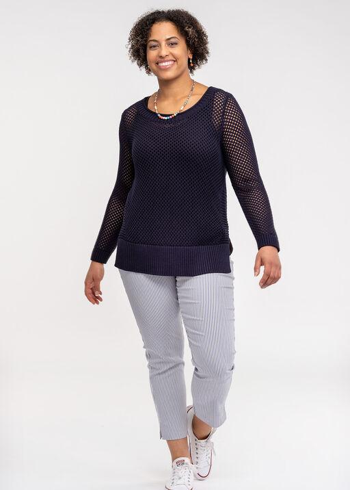 Crew Neck Open Stitch Sweater, Ink, original